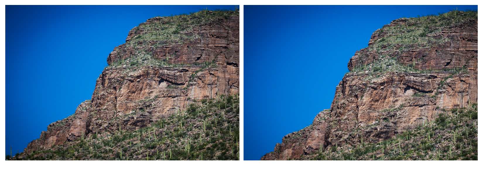 Consider these slightly different crops of the same photograph.  The one on the left has the mountain resolving neatly into the corner while the other leaves open sky.  Which do you prefer?